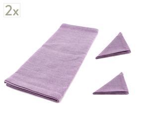 Set de 4 servilletas y 2 caminos de mesa Bonjour – Púrpura