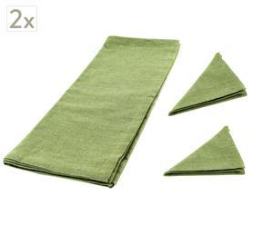 Set de 4 servilletas y 2 caminos de mesa Bonjour – Verde