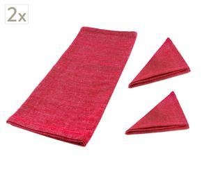 Set de 4 servilletas y 2 caminos de mesa Bonjour – Rojo