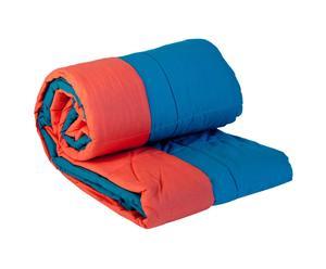 Edredón de doble cara – azul y naranja