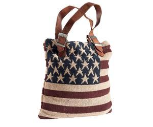 Bolsa multiusos hecha de algodón y cuero Stars and Stripes