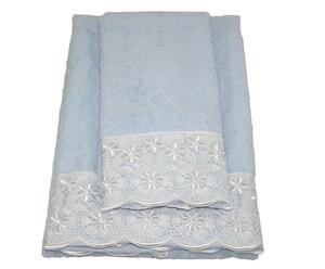 Juego de 2 toallas en algodón y encaje Daisy - azul