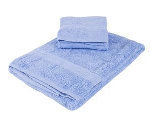 Set de toalla de aseo y toalla de lavabo – Azul claro