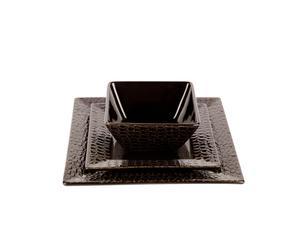 Set de 3 platos de cerámica Cocodrilo – Marrón oscuro