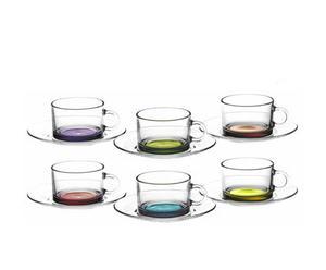 Set de 6 tazas de té con plato Colors
