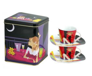 Set de 2 tazas de café con plato Night