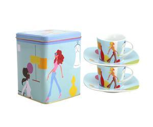 Set de 2 tazas de café con plato Women