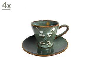 Set de 4 tazas de café con plato Flower - Azul