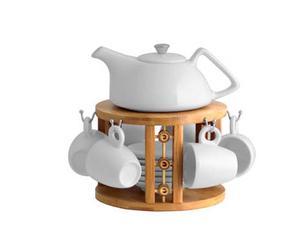 Servicio de café de porcelana y bambú Praga