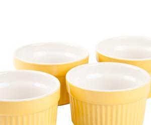 SET di 4 cocottine in ceramica Colors - giallo