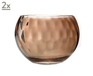 Set de 2 bols de vidrio Optical T4,  Ø 11 cm - marrón