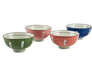 Set de 4 cuencos de cerámica pintada a mano Boli