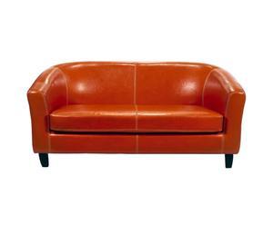 Sofá de 2 plazas de madera y polipiel  Florencia - naranja