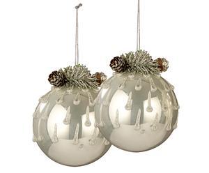 Set de 2 bolas decorativas de vidrio