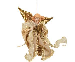 Ángel decorativo de porcelana con vestido dorado