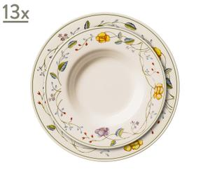 Vajilla plato hondo y plato llano Victoria decorados
