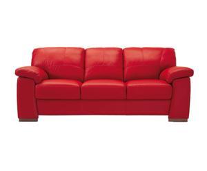 Sofá de 3 plazas en piel regenerada – Rojo