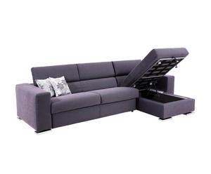 Sofá de 2 plazas y chaise longue Contenitore - Gris