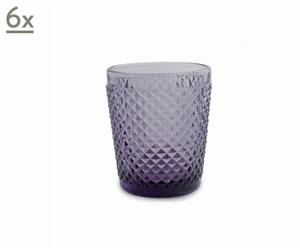 Juego de 6 vasos de agua Diamantes – Púrpura