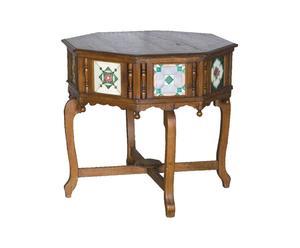 Tavolino antico indiano coloniale portoghese in legno di teak  -  82x73x82 cm
