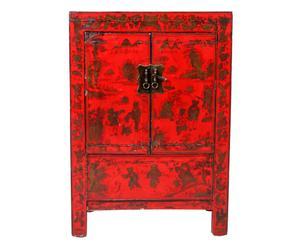 Armario oriental de madera de olmo – rojo y dorado
