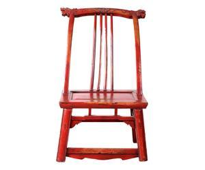 Silla oriental de madera de ciprés - rojo