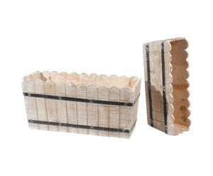 Set de 2 macetas de madera y hierro