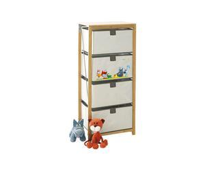 Mueble de madera de bambú con 4 cajones Puppies – 45x30x99