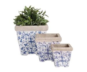 Set de 3 maceteros de cerámica, cuadrados – blanco y azul