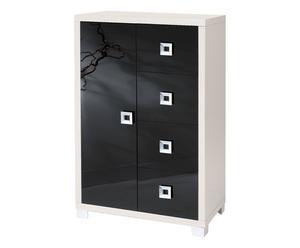 Cómoda de 4 cajones y 1 puerta de chapa de madera lacada – blanco y negro