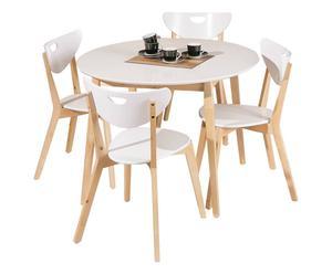 Set de 1 mesa y 4 sillas de madera de pino – blanco y natural