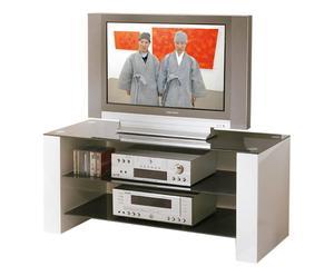 Mueble de televisión de madera y vidrio - blanco