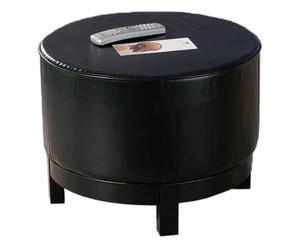Puf redondo de ecopiel - negra