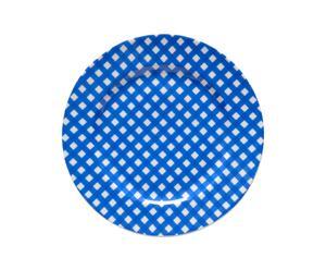 Bandeja redonda de porcelana VICHY BLUVICHY- blanco y azul