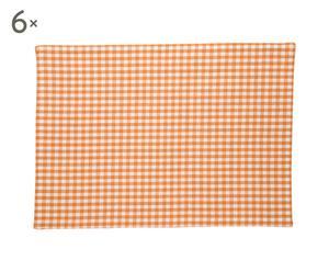 Set de 6 servilletas de algodón Yam Vichy – naranja y blanco