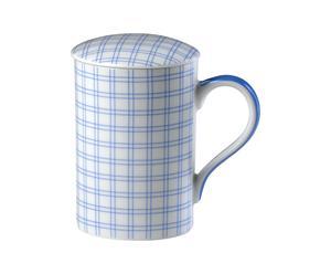 Taza de porcelana con tapa - blanco y azul