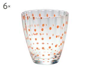 Set de 6 vasos de agua de cristal Flurry Flurry - naranja