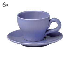 Set de 6 tazas de café con platitos – lavanda