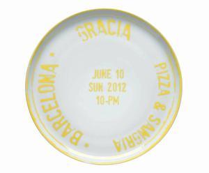 Plato de porcelana para pizzas Barcelona – blanco y amarillo