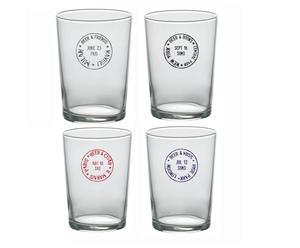 Set de 4 vasos de cerveza de vidrio – transparente y multicolor