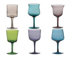 Set de 6 copas surtidas de vidrio - multicolor