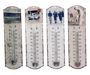 Set de 4 termómetros de estaño para interior Vintage