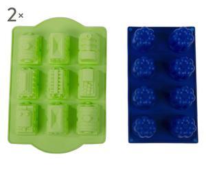 Set de 4 moldes miniporciones - verde y azul