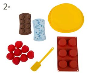 Set de 24 moldes de silicona con espátula - multicolor