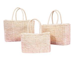 Set de 3 bolsos de fibra de maíz con forro - natural