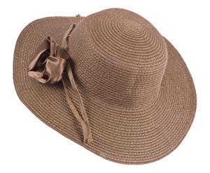 Sombrero de playa con flor – marrón