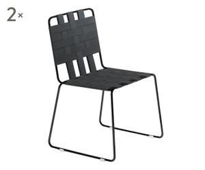 Set de 2 sillas de acero RAYAS - negro