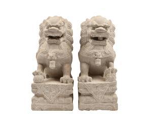 Juego de 2 perros Pho tallados a mano en piedra