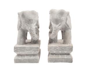 Juego de 2 elefantes tallados a mano en piedra