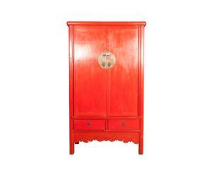 Mueble chino en madera lacada en rojo